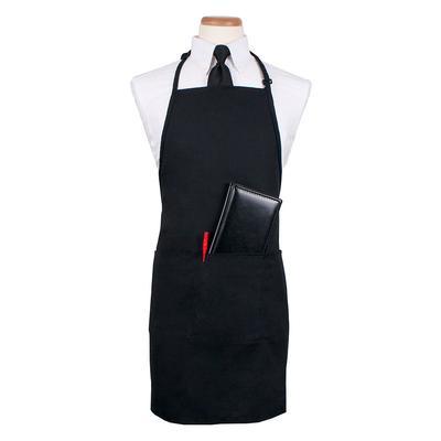 """Ritz CL3PBIAELBK-1 3 Pocket Bib Apron w/ Adjustable Neckstrap - 26"""" x 31"""", Polyester, Black"""