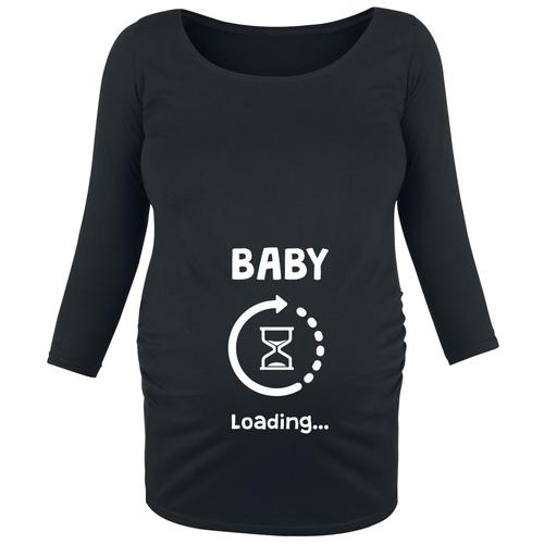 Umstandsmode Baby Loading Damen-Langarmshirt - schwarz