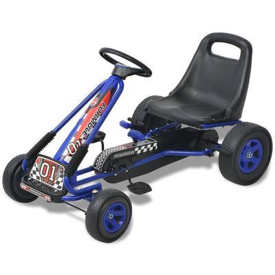 vidaXL Kart à pédale avec siège ajustable Bleu