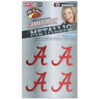 """Alabama Crimson Tide Game Faces Metallic Tattoo"""