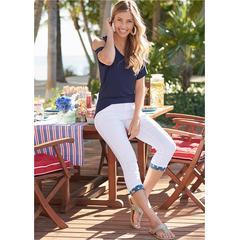 Star Cuff Capri Jeans Pants - White