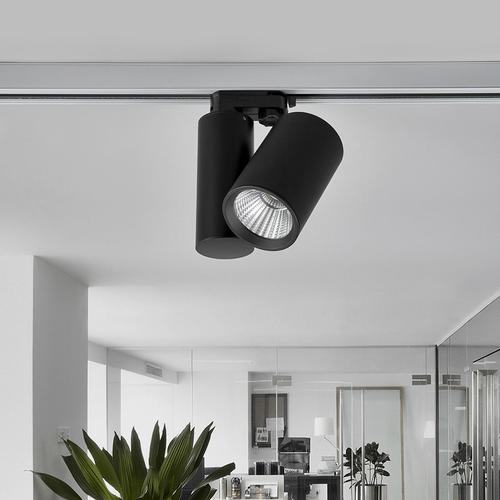 Schwarzer LED-Strahler Giol für Schienensystem