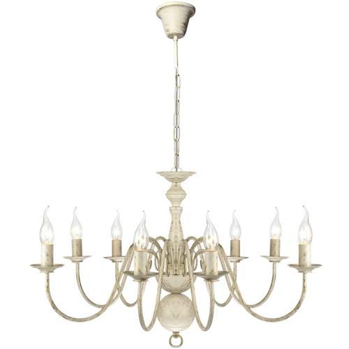 vidaXL Metall-Kronleuchter Weiß Antik 8 x E14 Glühbirnen