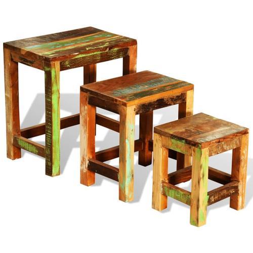 vidaXL Satztisch-Set 3-tlg. Vintage Altholz