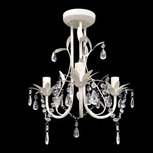 vidaXL Kronleuchter Pendelleuchte Kristall Lampe Lüster Leuchte weiß
