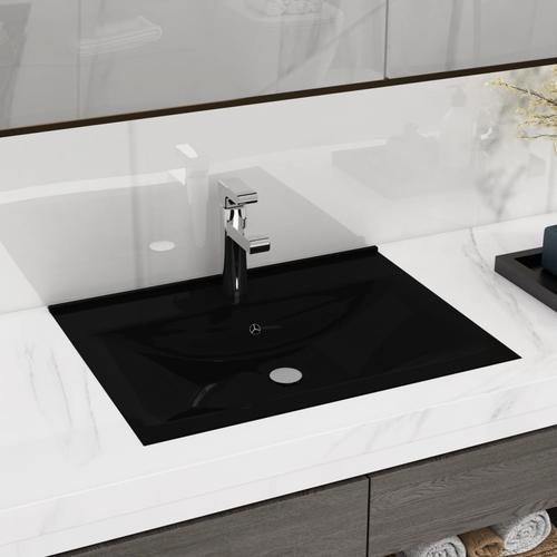 vidaXL Luxuriöses, rechteckiges Keramik-Waschbecken mit Hahnloch
