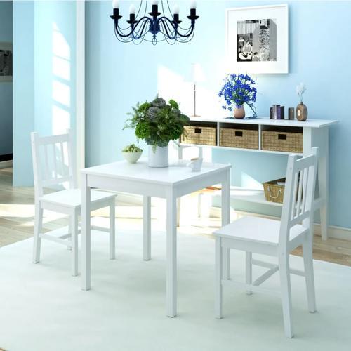 vidaXL Dreiteiliges Esstisch-Set Pinienholz Weiß