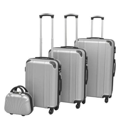 vidaXL Vierteiliges Hartschalen-Trolley-Set Silber