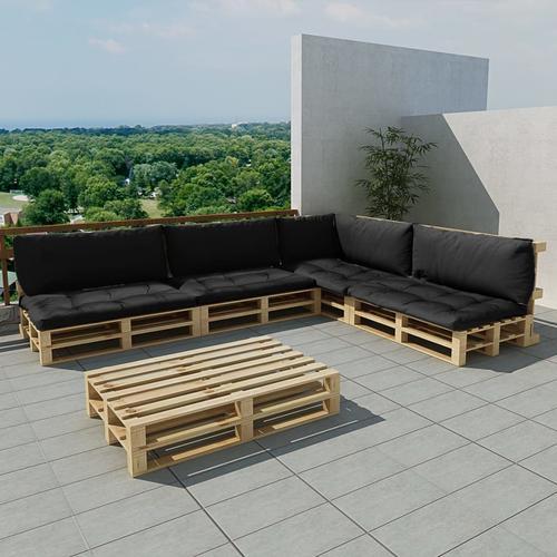 vidaXL 15-tlg. Garten-Lounge-Set Holzpaletten Grau