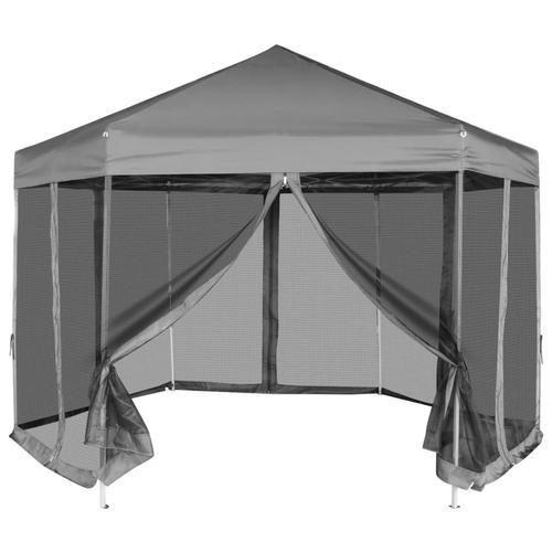 vidaXL Sechseckiges Pop-Up Festzelt mit 6 Seitenwänden Grau 3,6x3,1 m