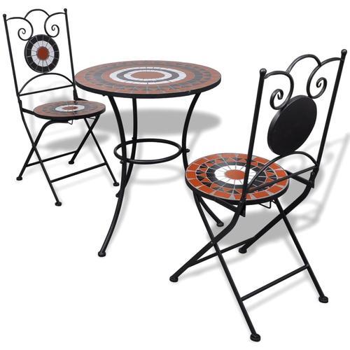 vidaXL 3-tlg. Bistro-Set Keramikfliese Terrakotta/Weiß