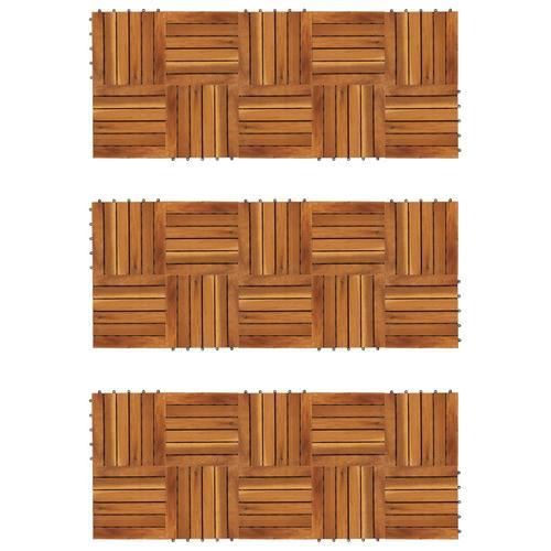 vidaXL Terrassenfliesen 30er Set Vertikales Muster 30 x 30 cm Akazie
