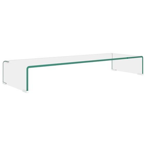 vidaXL TV-Tisch/Bildschirmerhöhung Glas Transparent 90x30x13 cm