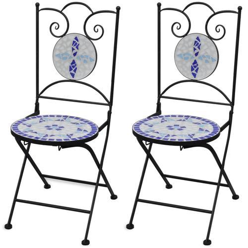 vidaXL Bistrostühle Klappbar 2 Stk. Keramik Blau und Weiß
