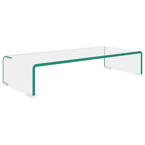 vidaXL TV-Tisch/Bildschirmerhöhung Glas Transparent 60x25x11 cm