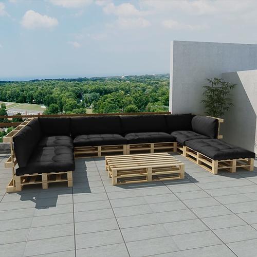 vidaXL 21-tlg. Garten-Lounge-Set Holzpaletten Grau