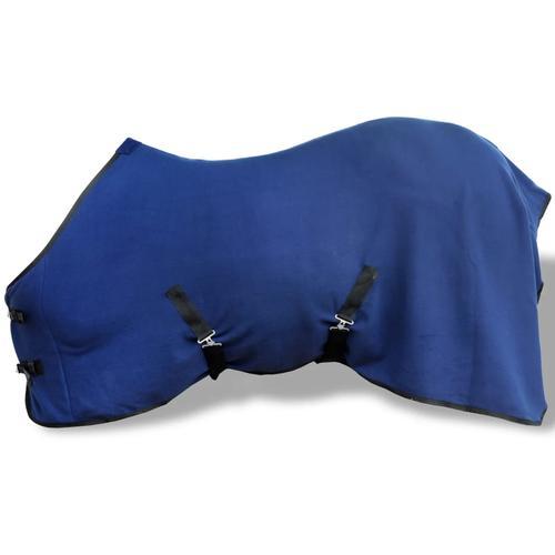 vidaXL Pferdedecke Fleecedecke Abschwitzdecke mit Kreuzbegurtung 105 cm blau