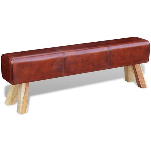 vidaXL Sitzbank Echtleder Braun 160x28x50 cm