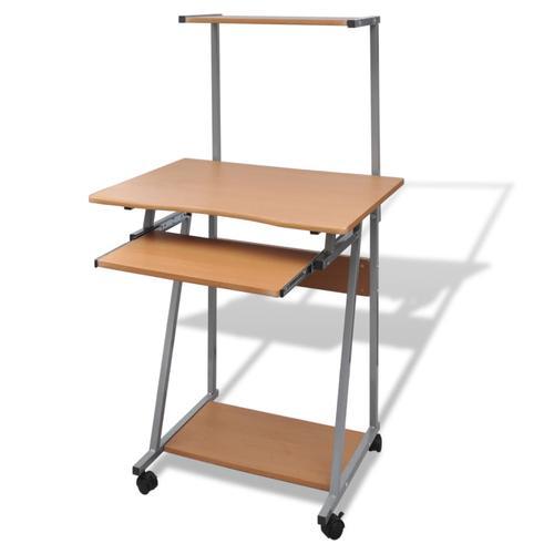 vidaXL Computertisch Computerwagen Bürotisch PC Tisch Laptop auf Rollen braun