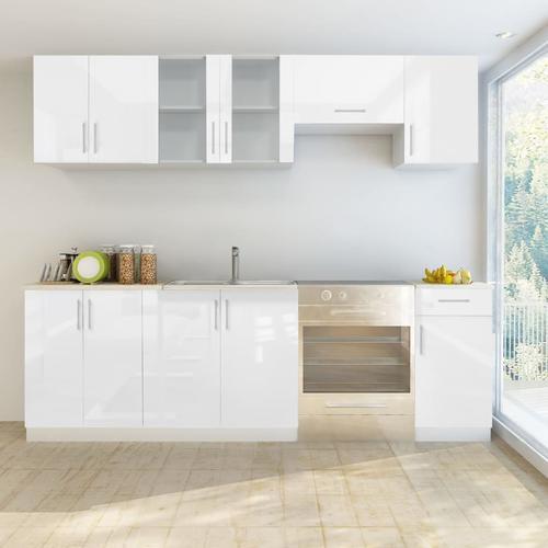 vidaXL Küchenzeile 7-tlg. Hochglanz Weiß 240 cm