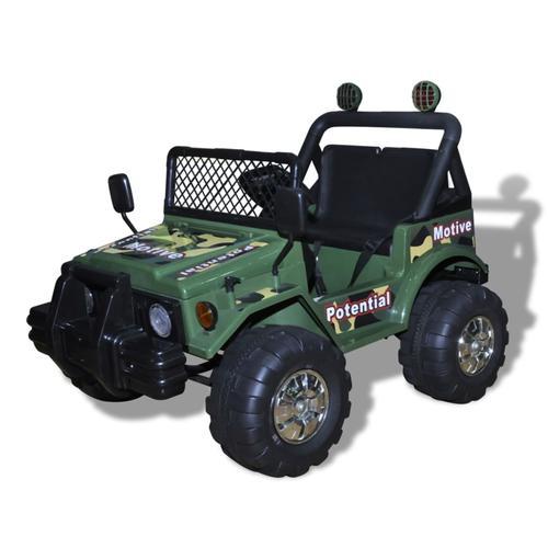 vidaXL Kinderauto Elektroauto Kinderfahrzeug Auto 2-Sitzer Armeegrün