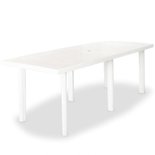 vidaXL Gartentisch Weiß 210 x 96 x 72 cm Kunststoff