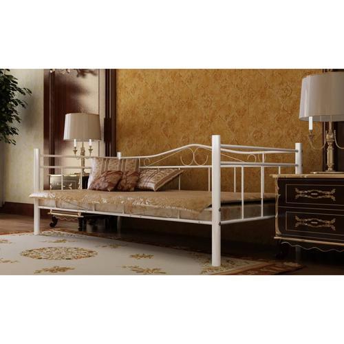 vidaXL Tagesbett mit Matratze Weiß Metall 90×200 cm