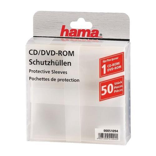 CD/DVD/Blu-ray-Schutzhüllen - 50 Stück (transparent) transparent, Hama, 13.5x13.5 cm