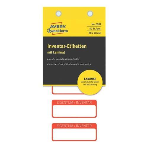 50er-Pack Inventar-Eigentum-Etiketten rot, Avery Zweckform