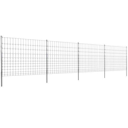 vidaXL Gratenzaun Wildzaun mit Pfosten Verzinktes Eisen 50 m 150/12/15