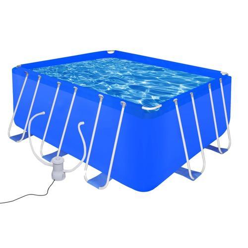 vidaXL Schwimmbad Set Rechteckig 8870 L + Filterpumpe