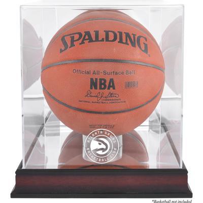 """Atlanta Hawks Mahogany Team Logo Basketball Display Case with Mirrored Back"""