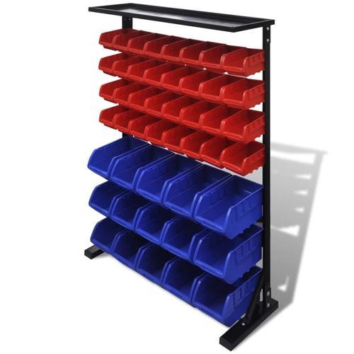 vidaXL Werkstattboxen mit Ständer Blau & Rot