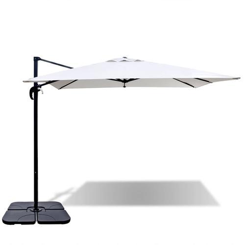 vidaXL Roma Sonnenschirm mit mobilem Ständer 2,5 x 2,5 m Alu Sandweiß