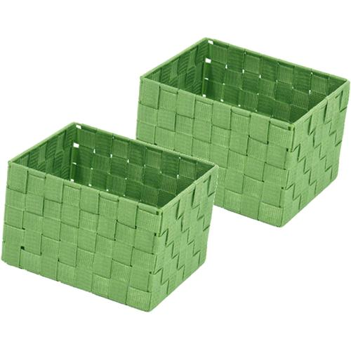 Franz Müller Flechtwaren Aufbewahrungsbox, (Set, 2 St.), Gr. 23 x 18 cm grün Kleideraufbewahrung Aufbewahrung Ordnung Wohnaccessoires Aufbewahrungsbox