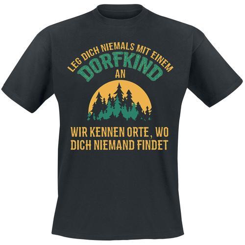 Leg dich niemals mit einem Dorfkind an Herren-T-Shirt - schwarz