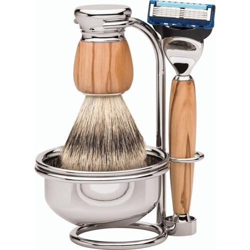 Erbe Shaving Shop Premium Design MILANO Rasiergarnitur mit Seifenschale Silberspitz & Fusion Olivenholz Rasierset