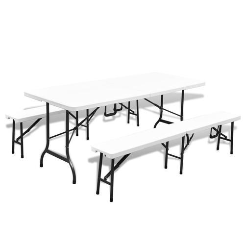 vidaXL Klappbarer Gartentisch mit 2 Bänken 180 cm Stahl und HDPE Weiß