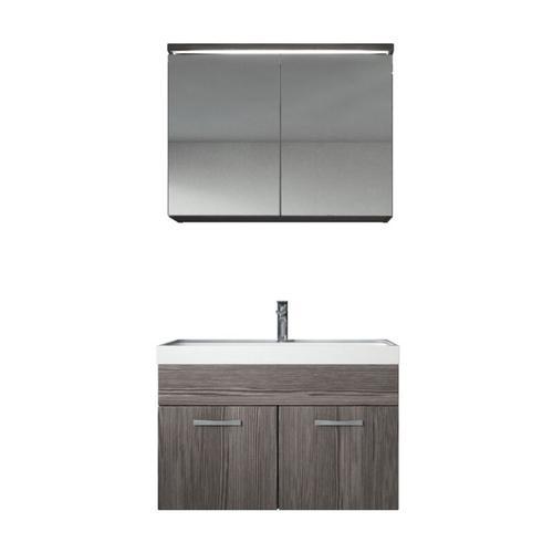 Badezimmer Badmöbel Set Paso 02 80cm Waschbecken Bodega (Grau) - Unterschrank Schrank Waschbecken