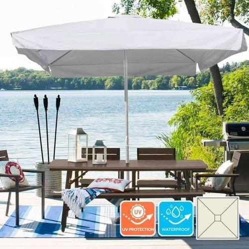 Gartenschirm 3x3 Sonnenschirm Alu mittelmast Quadratisch Café Hotel Marte | mit Volant