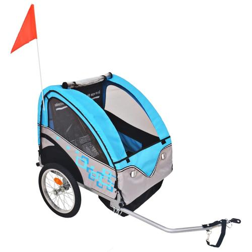 vidaXL Kinder Fahrradanhänger Grau und Blau 30 kg