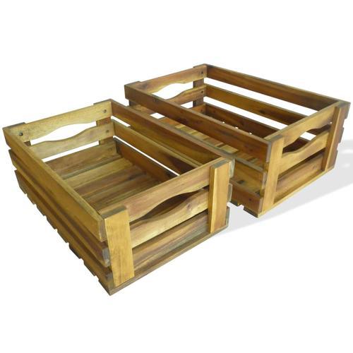 vidaXL Apfelkisten-Set 2 Stk. Akazienholz Massiv