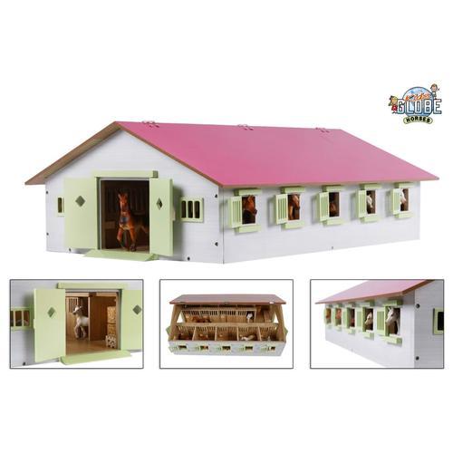 Kids Globe Spielzeug-Pferdestall mit 9 Boxen 1:32 Rosa 610188