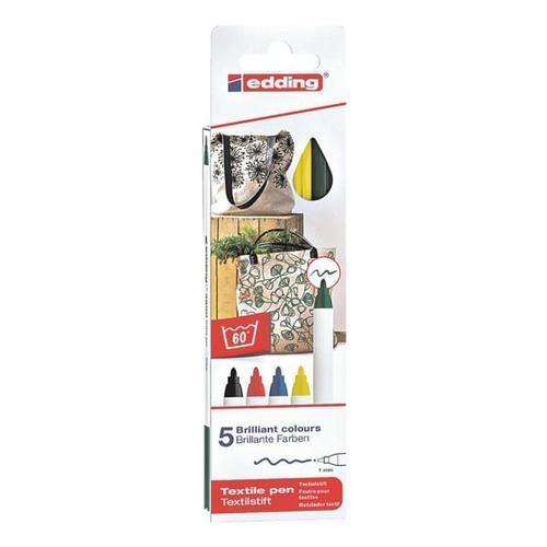 5er-Pack Textilstifte »4600/5S Basic Colours«, Edding