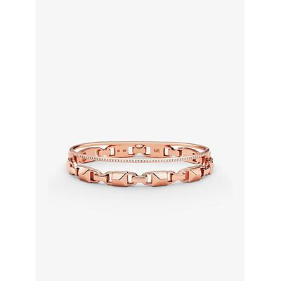 Michael Kors Precious Metal-Plated Sterling Silver Mercer Link Pavé Halo Bangle Rose Gold M