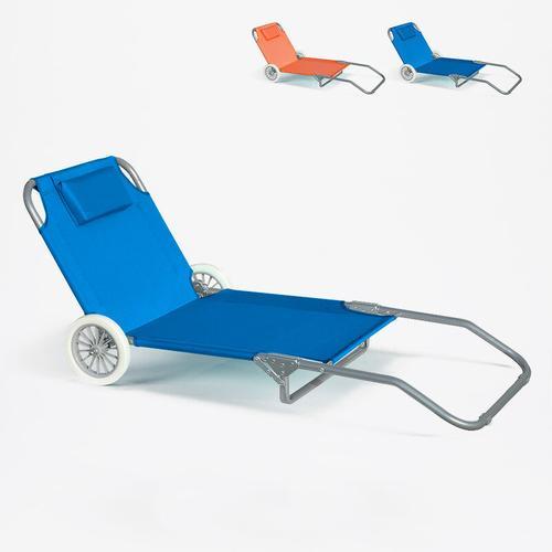 Sonnenliege Strandliege Stahl Tragbar mit Rollen Banana | Hellblau
