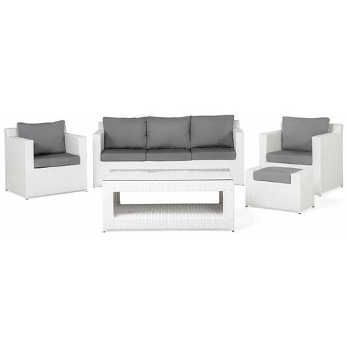 Lounge 6er Set Weiß Rattanoptik Grauen Bezüge Mit Sitzkissen Dekorativ Elegant Modern