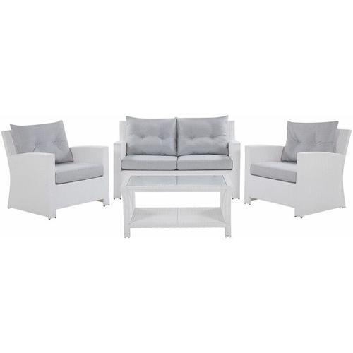 Lounge 4er Set Weiß in Rattanoptik Grauen Bezüge Mit Sitzkissen Dekorativ Elegant Modern