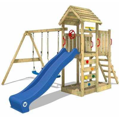 Climbing frame MultiFlyer wooden roof with swing set and blue slide, Garden playhouse with sandpit,