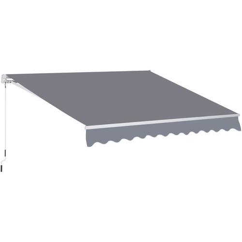Outsunny® Markise Gelenkarmmarkise Sonnenschutz Handkurbel Balkon 3x2,5m 3 Farben - grau